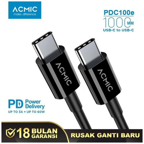 ACMIC PDC100e Power Delivery (PD) 100cm Cable USB Type C to USB Type C