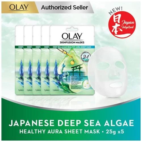 Olay Japanese Deep Sea Algae Healthy Aura Sheet Mask 25gr Paket Isi 5