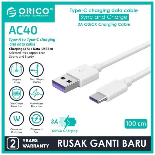 ORICO Type-C Quick Charge Data Cable 3A 100CM - AC40-10