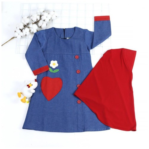Size 4 (usia 3-4 tahun)/Gamis anak denim LOVE