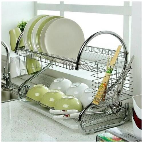 Rak Piring Mangkok Dapur Stainless Steel Chrome 2 Susun Tingkat Dish Drainer Berkualitas
