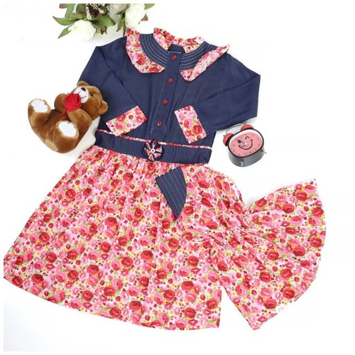 Size 8 (7-8 tahun) Gamis Katun Bunga Merah