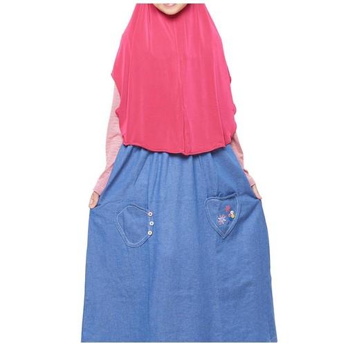 Strip Merah Size L (10-11 tahun) Gamis anak overall