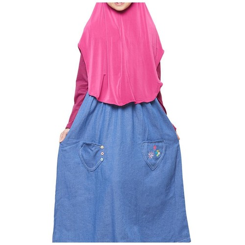 Strip Marun Size L (10-11 tahun) Gamis anak overall