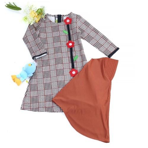 GK-2 Coklat Size 5 (4-5 tahun)/Gamis anak perempuan motif kotak besar