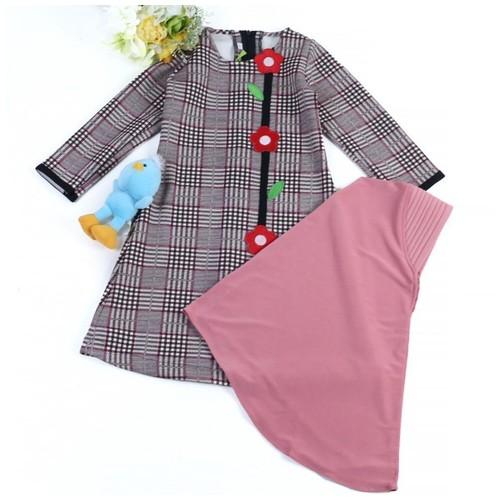 GK-2 Dusty Rose Size 1 (1 tahun)/Gamis anak perempuan motif kotak besar