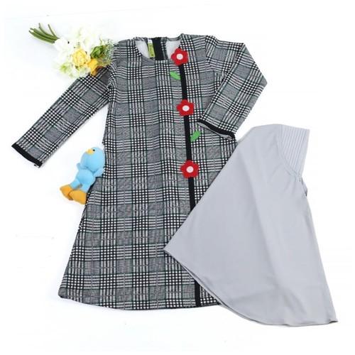 GK-2 Gray Size 6 (5-6 tahun)/Gamis anak perempuan motif kotak besar