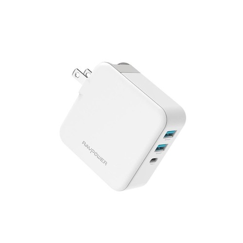 RAVPower Wall Charger 2 Port Fast Charging PD65W+QC 3.0 [RP-PC082] - White