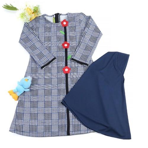 GK-2 Biru Size 5 (4-5 tahun)/Gamis anak perempuan motif kotak besar