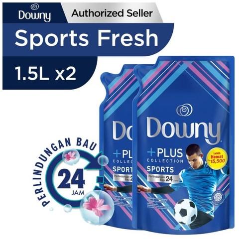 Downy +PLUS SPORT Pelembut & Pewangi Pakaian 1.5ml Paket Isi 2