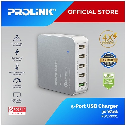 Prolink USB Charger 30W 5-Port  with IntelliSense - PDC53001