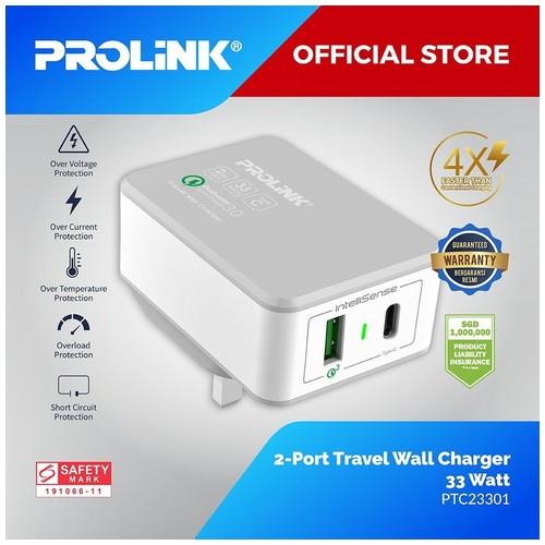 Prolink Travel Charger 33W 2-Port with IntelliSense - PTC23301