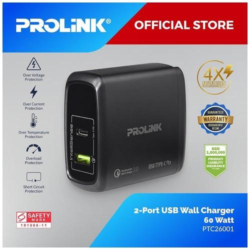 Prolink PTC26001 Qualcomm Quick Travel Charger Intellisense with USB Type C