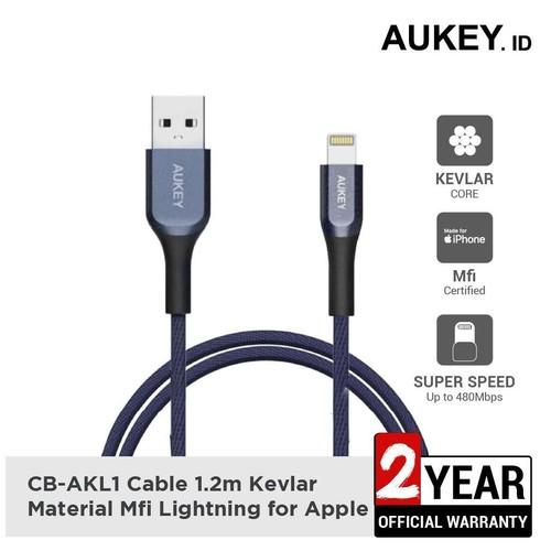 Aukey Cable CB-AKL1 MFI USB A To Lightning Kevlar 1.2 M Blue - 500421