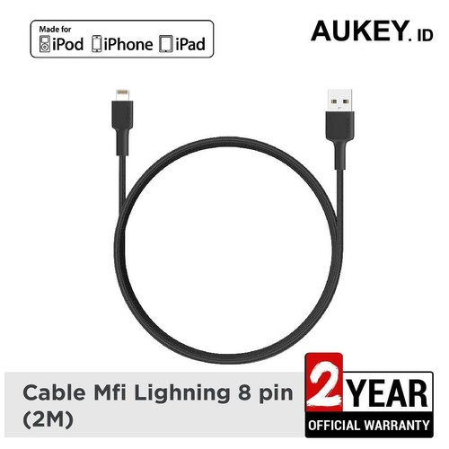Kabel Charger Iphone Aukey CB-BAL4 MFi USB-A to Lightning 2m Black - 500352
