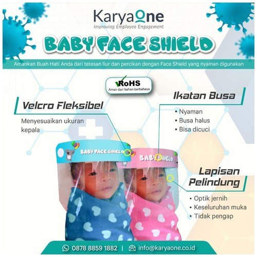 Face Shield KaryaOne Baby Series. Pelindung Wajah Kualitas Premium Aman untuk Bayi - PINK