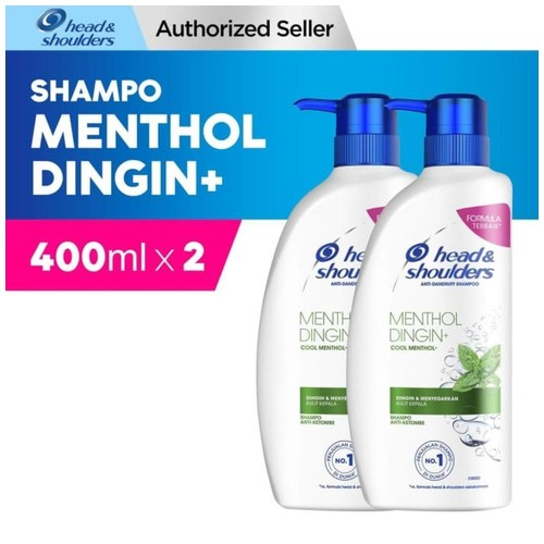 Head & Shoulders Shampoo Cool Menthol Anti-Dandruff 400ml Paket Isi 2