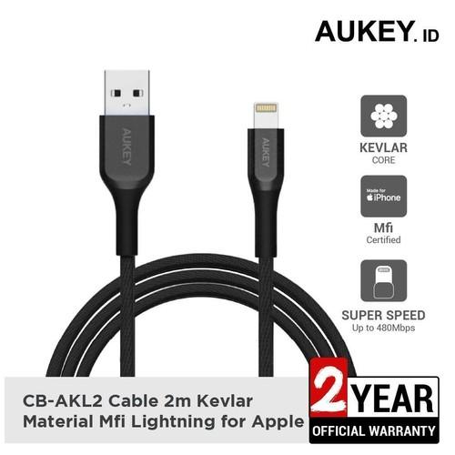 Aukey Cable CB-AKL2 Black MFI USB A To Lightning Kevlar 2M - 500422