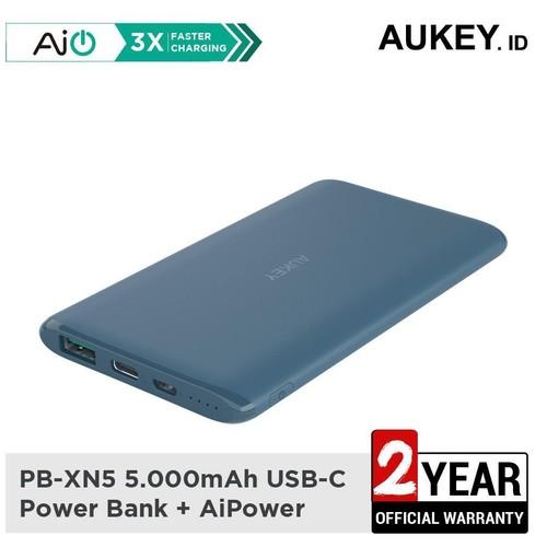 Aukey Powerbank PB-XN5 5000mAh 5V 3A Ultra Portable USB-C BLUE - 500528