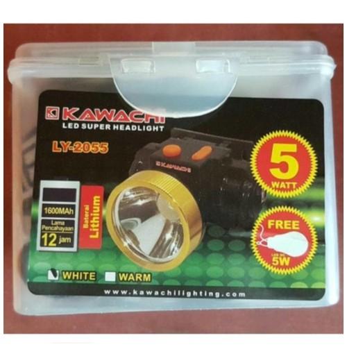 Senter Kepala Kawachi LY 2055 Headlamp Kuning 5 Watt bonus Bohlam