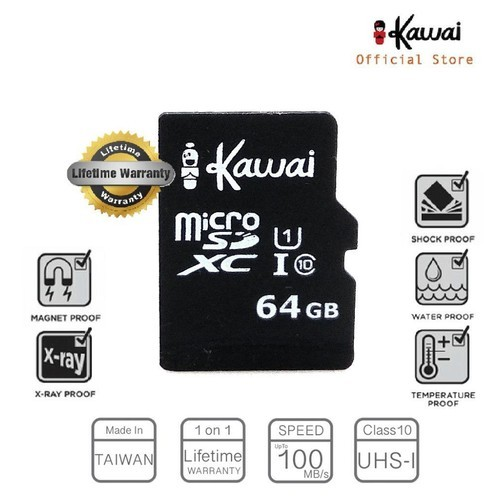 Ikawai 64GB MicroSDHC Class 10 UHS-I Lifetime Warranty