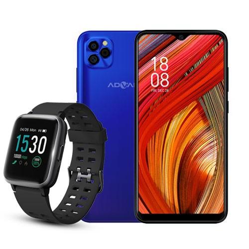 Advan Smartphone G5 (RAM 4GB/32GB) - Blue Purple BUNDLING Smartwatch Start Go S1 - Black