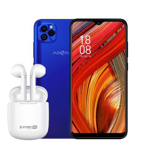 Advan Smartphone G5 (RAM 4GB/32GB) - Blue Purple BUNDLING Start Go TWS 2 Earbuds Earphone - White
