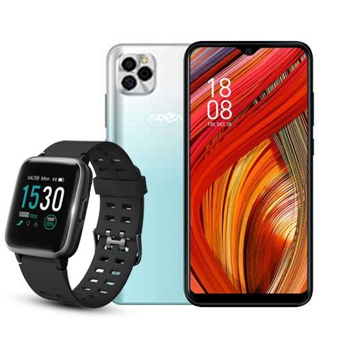Advan Smartphone G5 (RAM 4GB/32GB) - White Green BUNDLING Smartwatch Start Go S1 - Black