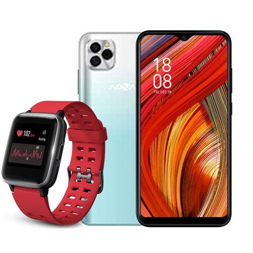 Advan Smartphone G5 (RAM 4GB/32GB) - White Green BUNDLING Smartwatch Start Go S1 - Red