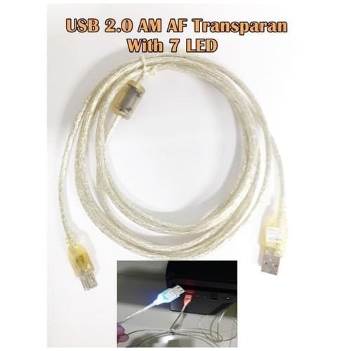 Mediatech Kabel USB Extention AM AF 7 LED 3M Transparent - 66933