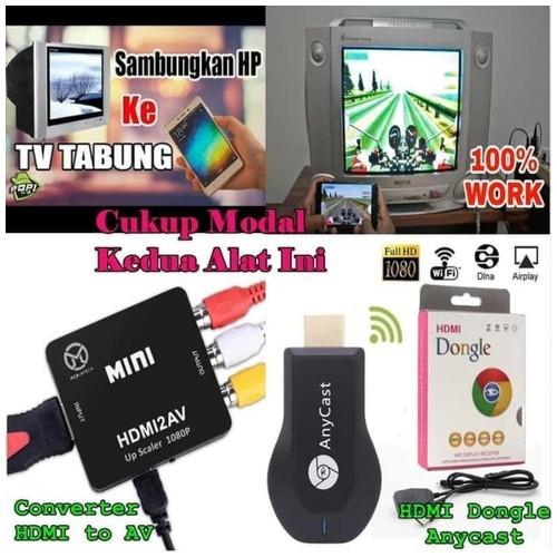 Paket HDMI Dongle + HDMI To AV Alat Konverter