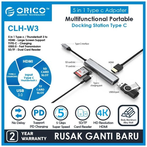 ORICO CLH-W3 Type-C to USB 3.0 4K HDMI PD Charge Hub TF SD Card Reader