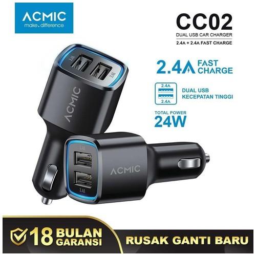 ACMIC CC02 Dual USB 2.4A Car Charger Fast Charging 24 Watt