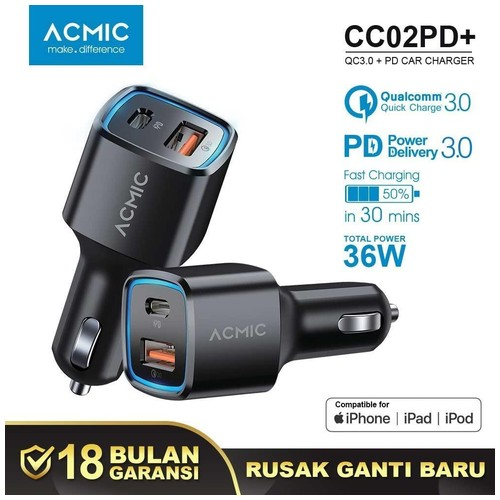 ACMIC CC02PD+ Car Charger PD + QC3.0 Fast Charging 36 Watt