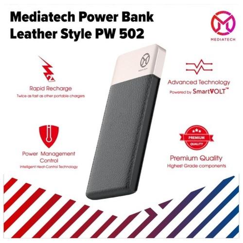 Powerbank Leather PW 502 10000mAh Mediatech / Power Bank + Type C Port - 63937 Hitam