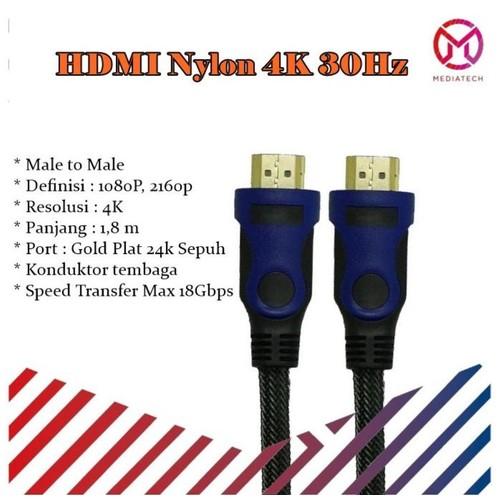 Kabel HDMI Nylon 4K 30Hz - 1.8m High Speed / Gold Plated