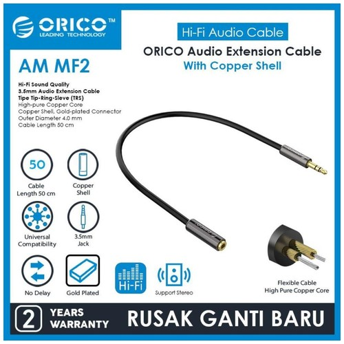 ORICO Audio Cable Extension 3.5mm Copper Shell 50cm - AM-MF2-05