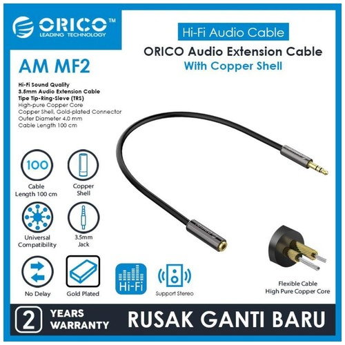 ORICO Audio Cable Extension 3.5mm Copper Shell 100cm - AM-MF2-10