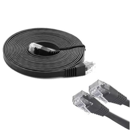 Mediatech Kabel Lan Flat 5m / 5 Meter Cat 6 - hitam ( 66924-hitam )