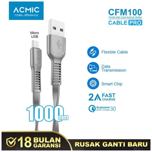 ACMIC CFM100 Kabel Data Charger Micro USB 100cm Fast Charging Cable
