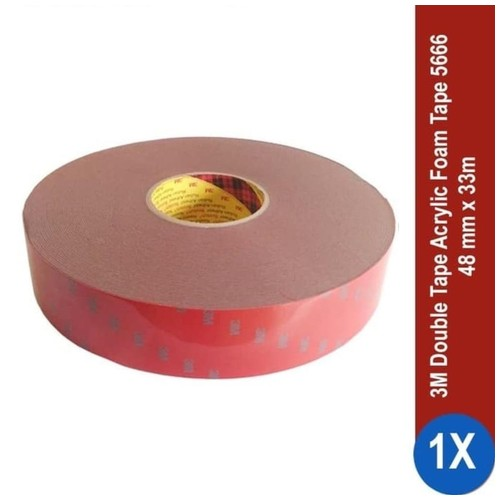 3M AFT Acrylic Foam Tape 5666, tebal: 1.1 mm, size: 48 mm x 33 m (Double Tape Mobil)