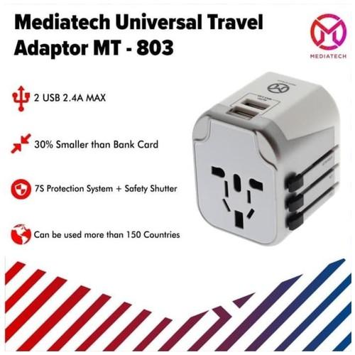Mediatech Universal Travel Adaptor 4 in 1 MT-803 Dual USB Port - 630003 Putih Silver