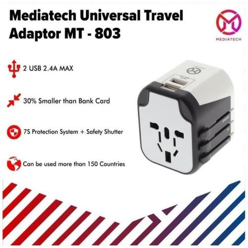 Mediatech Universal Travel Adaptor 4 in 1 MT-803 Dual USB Port - 630003 Hitam Putih