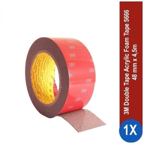 3M AFT Acrylic Foam Tape 5666, tebal: 1.1 mm, size: 48 mm x 4.5 m (Double Tape Mobil)
