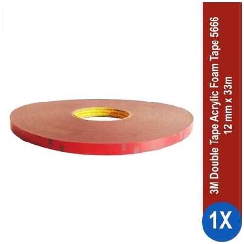 3M AFT Acrylic Foam Tape 5666, tebal: 1.1 mm, size: 12 mm x 33 m (Double Tape Mobil)