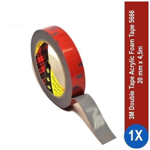 3M AFT Acrylic Foam Tape 5666, tebal: 1.1 mm, size: 20 mm x 4.5 m (Double Tape Mobil)