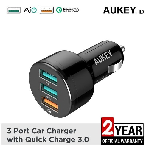 Aukey Car Charger 3 Ports 42W QC 3.0 & AiQ - 500126