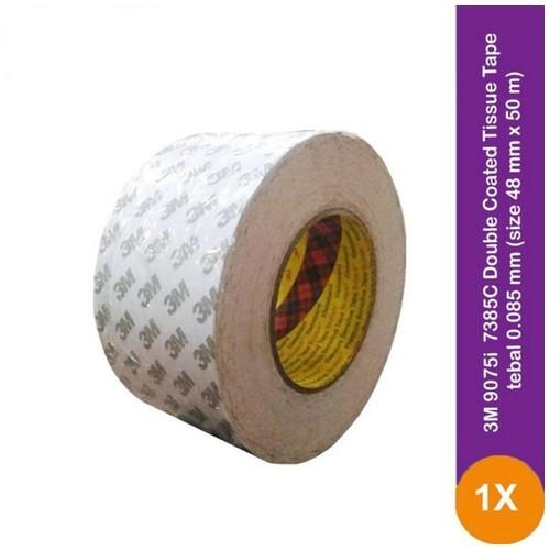 3M 9075i / 7385C Double Coated Tissue Tape - 48 mm x 50 m - 1 Buah