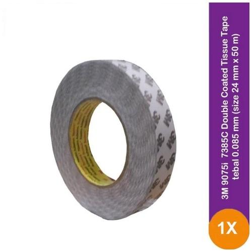 3M 9075i / 7385C Double Coated Tissue Tape - 24 mm x 50 m - 1 Buah