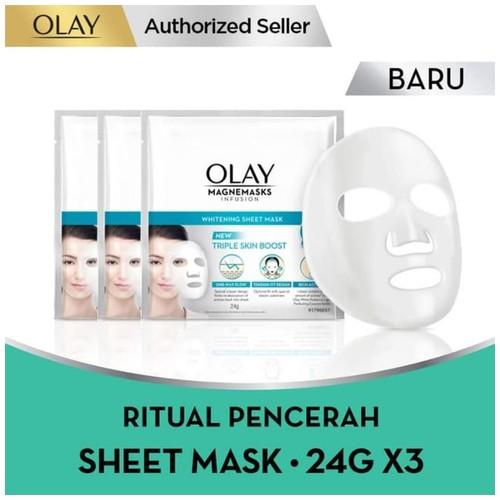 Olay Magnemask Infusion Advance Whitening Sheet Mask 24g Paket Isi 3